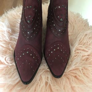 Matisse STORM Burgundy Red Ankle Boots with Studs